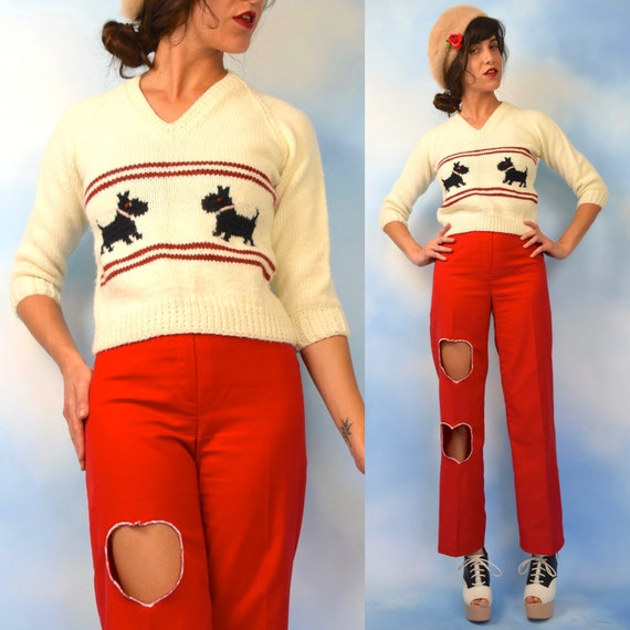 Vintage 80s 90s Scotty Dog Cropped and Fitted Sweater (size xs, small)