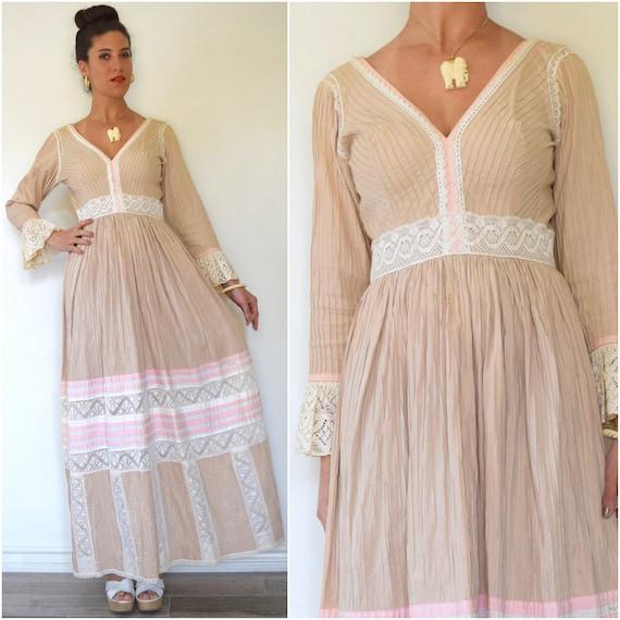 Vintage 60s 70s Neapolitan Pin Tucked Pleated Mexican Maxi Dress (size medium)