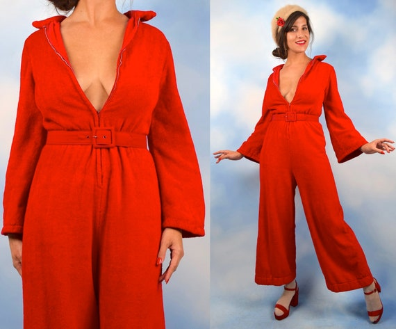 Vintage 60s 70s Tomato Red Plush Terrycloth Bell Sleeve Palazzo Pant Zip Up Jumpsuit (size medium)