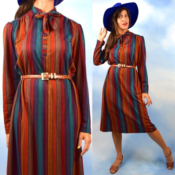 Vintage 70s 80s Striped Jersey Kitten Bow Collar Shirt Dress (size medium, large)