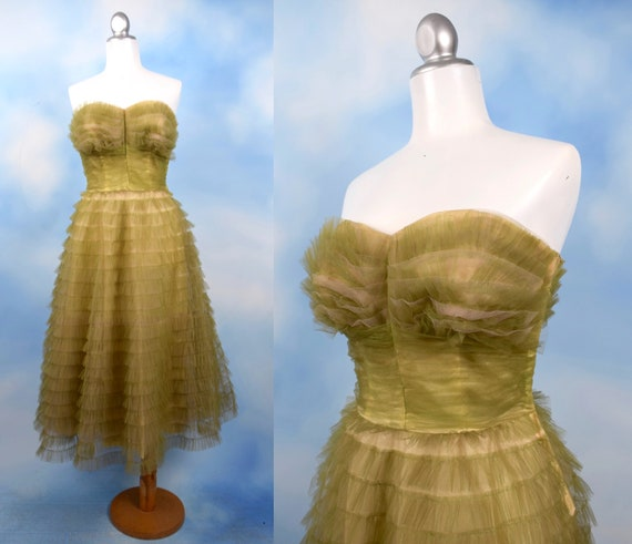 Vintage 50s Cucumber Green Tulle Strapless New Look Party Dress (size xs, small)