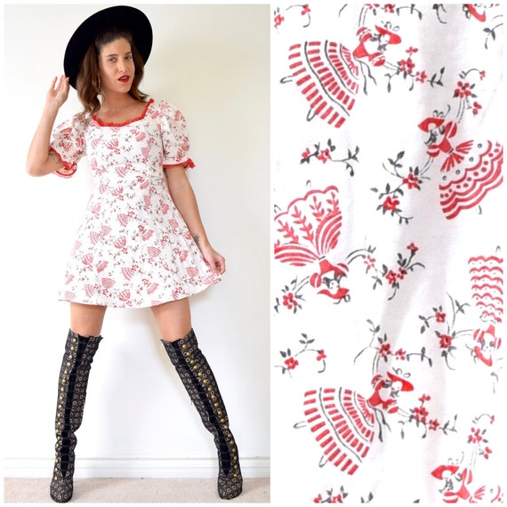 Vintage 60s 70s Dancing Senorita Cotton Mini Dress (size xs, small)
