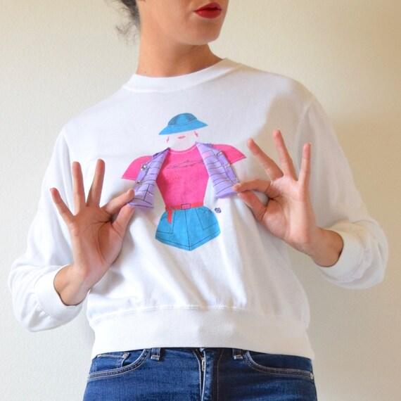 Vintage 80s 90s Gone Fishin Interactive Fisherwoman Pullover Sweatshirt