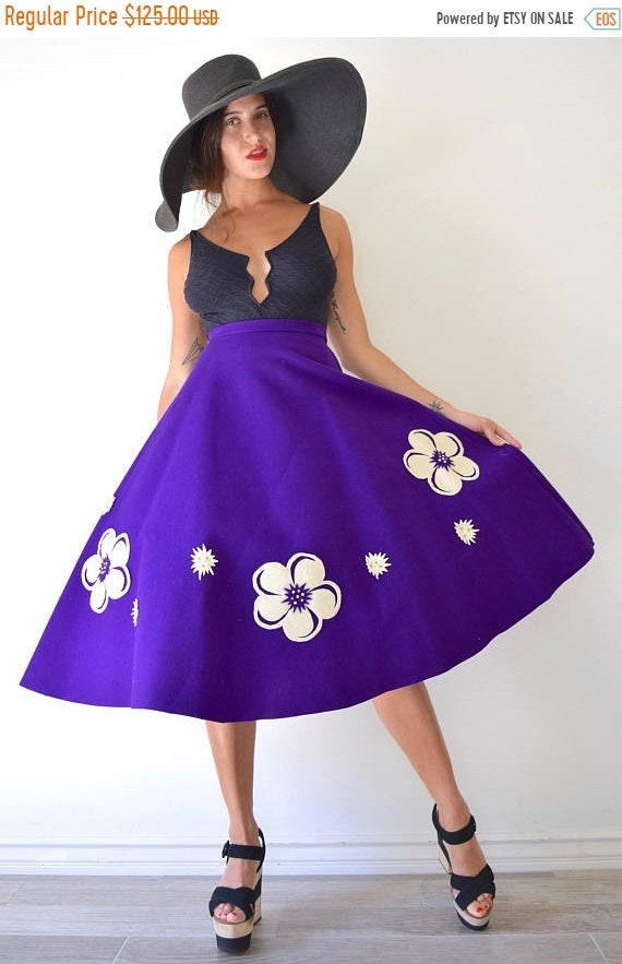 SALE SECTION / 50% off Vintage 50s 60s Purple Wool Felt High Waisted Semi Circle Skirt with Cut Out Flower Rhinestone Embellished Appliques