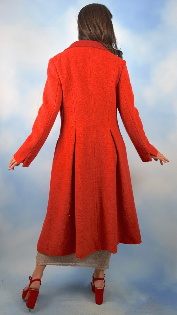 Vintage 60s 70s Red Boucle Wool Blend Princess Co… - image 5