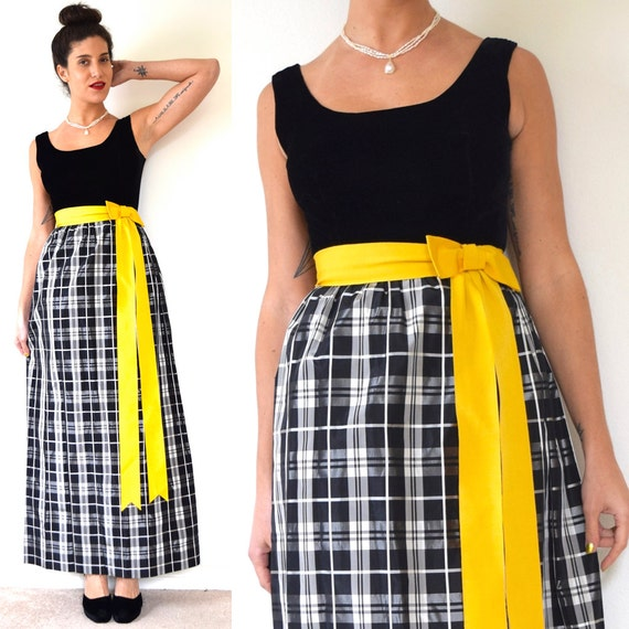Vintage 60s 70s Lanz Black and White Plaid Taffeta Button Back Maxi Dress with Cadmium Yellow Grosgrain Ribbon Bow (size xs, small)