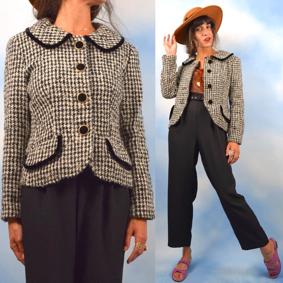 Vintage 90s does 50s Black and White Houndstooth Tailored Blazer with Peter Pan Collar (size medium)