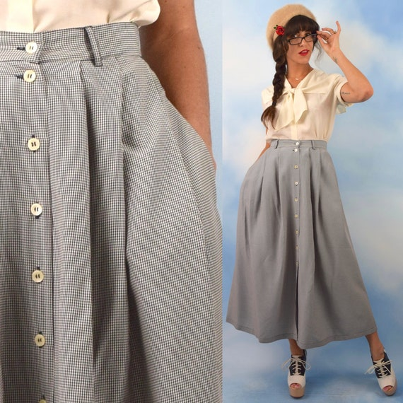 Vintage 90s Black and White Micro Gingham Checkered High Waisted Button Front A Line Skirt (size small, medium)