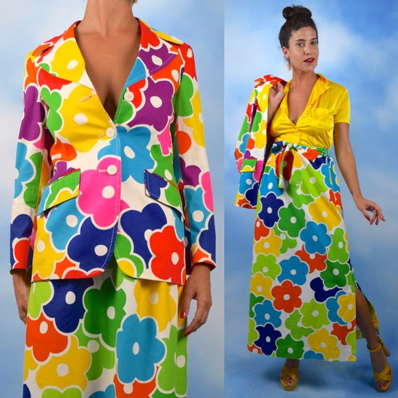 Vintage 60s 70s Rainbow Flower Power Blazer and Maxi Skirt 2 Piece Set (size small, medium)