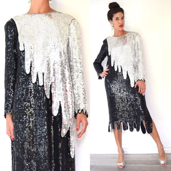 Vintage 90s does 20s Art Deco Style Black and Silver Sequined Silk Drip Hem Midi Cocktail Dress