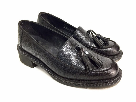 Dr. Martens Black Synthetic Leather Slip On Adrian Tassel Loafer (size 5)
