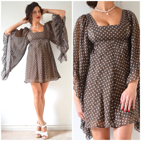 Vintage 70s Brown Voile Diamonds and Circles Print Angel Wing Flutter Sleeve Mini Dress (size xxs, xs)