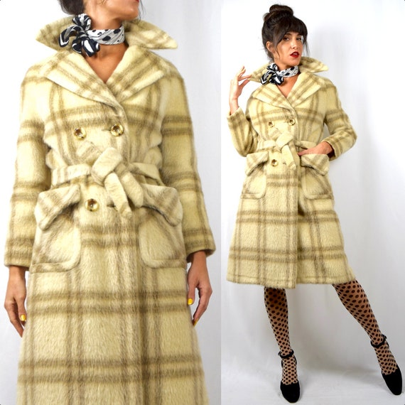 Vintage 60s Saks Fifth Avenue Vanilla and Mocha Plaid Mohair Double Breasted  Belted Coat (size small, medium)