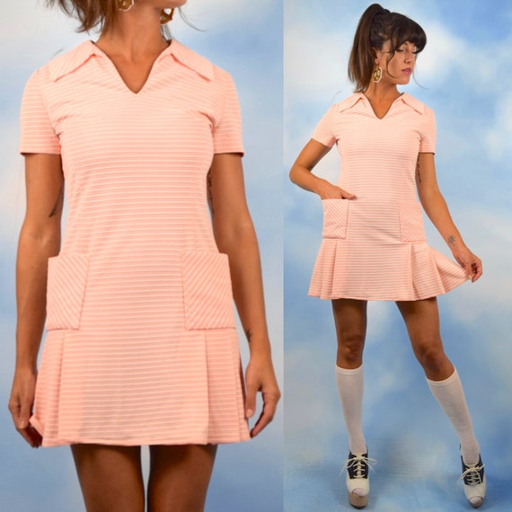 Vintage 60s Mod Bubblegum Pink and White Striped Knit Dropped Waist Box Pleated Mini Dress (size medium)