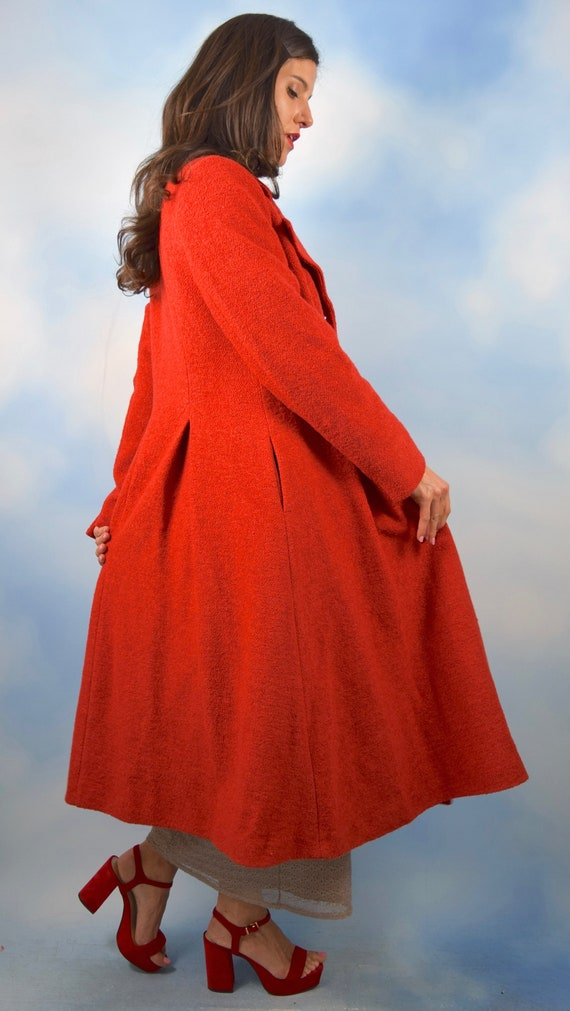 Vintage 60s 70s Red Boucle Wool Blend Princess Co… - image 4