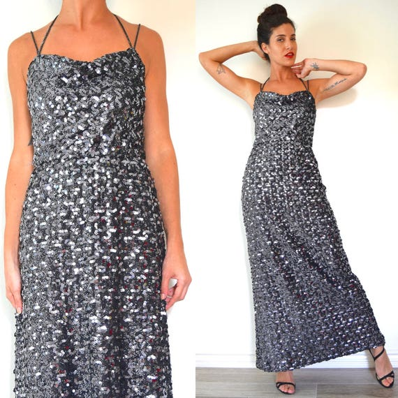 Vintage 70s 80s Pewter Sequined Cowl Neck Evening Gown (size small, medium)