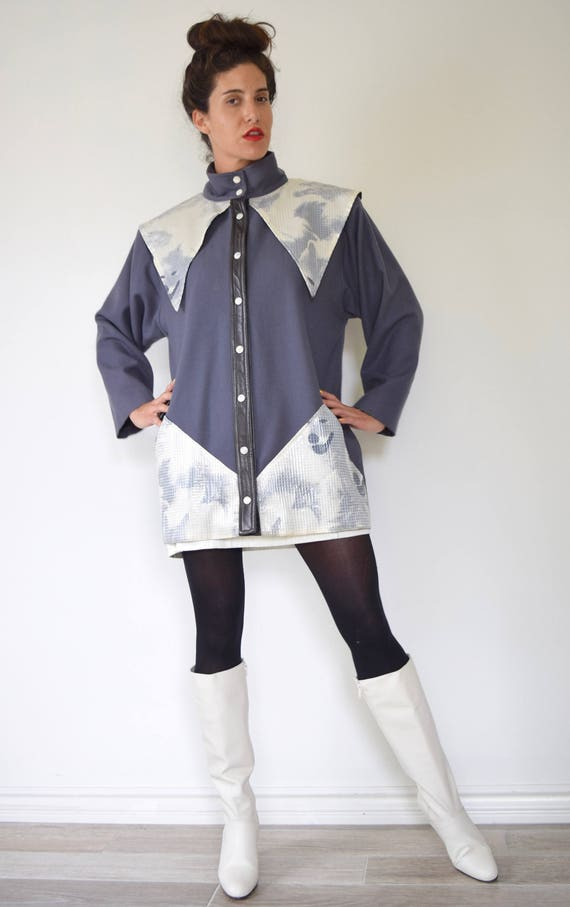 Vintage 80s Bernard Danae Howlin Wolf Avant Garde Couture Grey Wool Sequined Jacket with Black Leather Trim