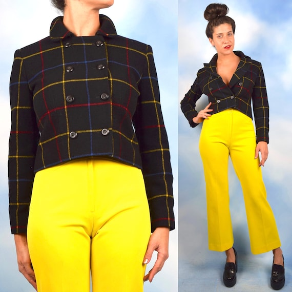 Vintage 90s Primary Plaid Black Wool Cropped and Fitted Double Breasted Jacket (size small, medium)
