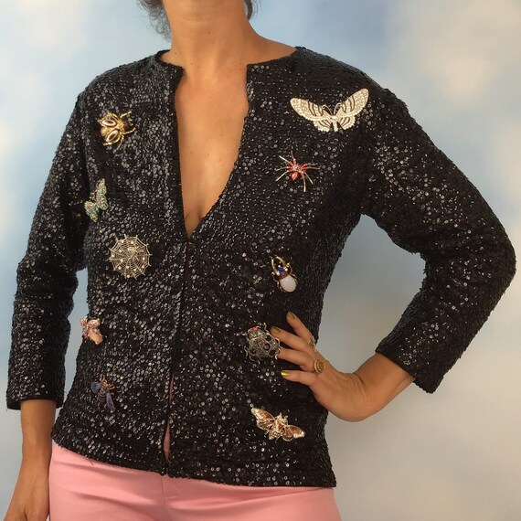 Vintage 50s 60s Black Sequined Cardigan with Jeweled Bug Brooch Collection (size small, medium)