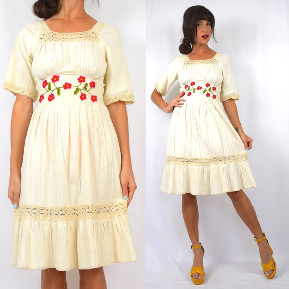 Vintage 60s 70s Ivory Gauze Floral Embroidered Mexican Dress (size xs, small)