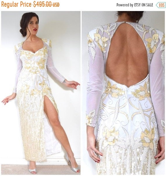 80s Vintage and Beaded small 90s 50 size Heavily Backless Sequined Casadei SALE Gown off SECTION Ivory Eletra Evening and White twIxnOq7
