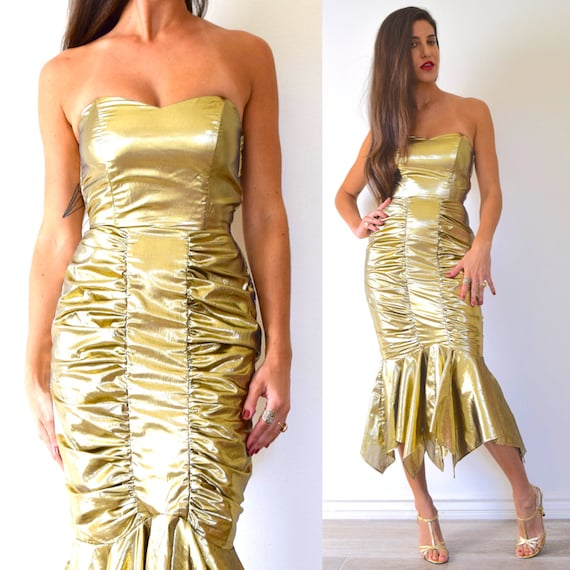 Vintage 80s does 50s Metallic Gold Lame Strapless Ruched Hourglass Handkerchief Fishtail Party Dress (size xs, small)