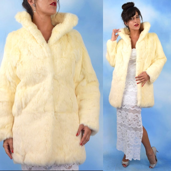 Vintage 80s 90s Vanilla Rabbit Fur Coat