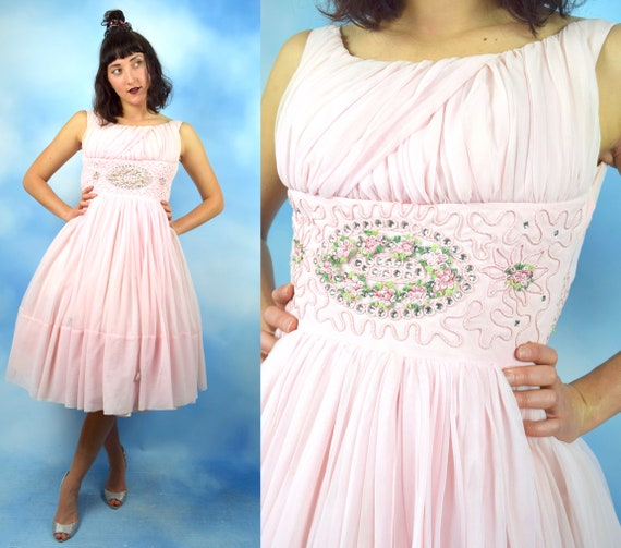 Vintage 50s 60s Prima Donna Powder Pink New Look Party Dress (size xxs, xs)