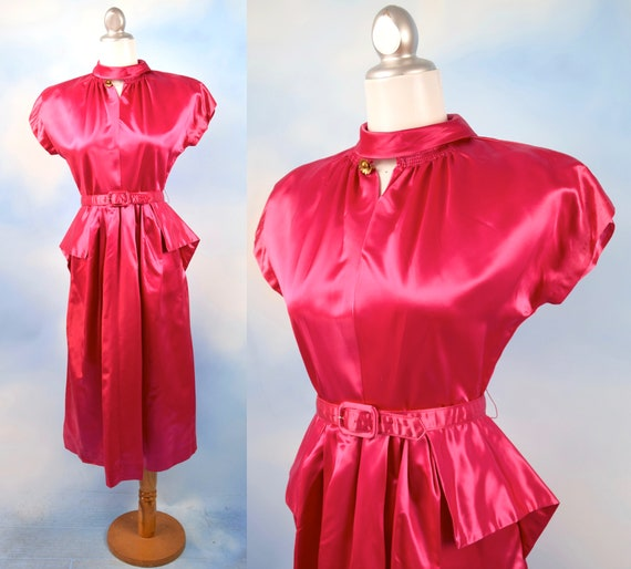 Vintage 50s 60s Hottest Pink Liquid Satin Peplum Waist Wiggle Dress (size medium)