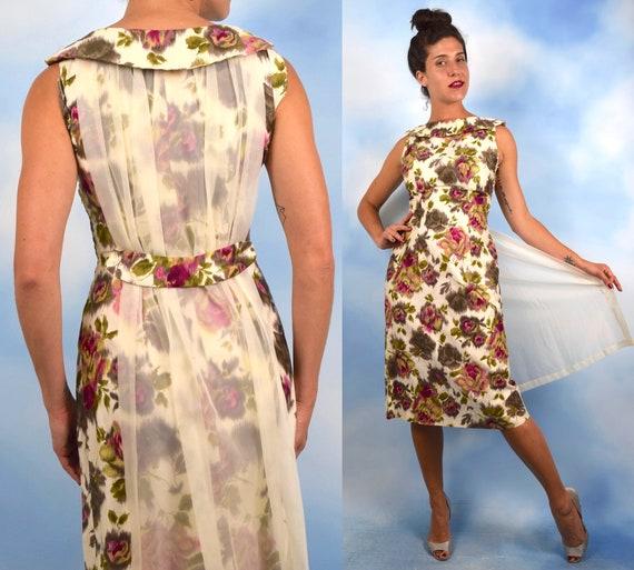 Vintage 50s 60s Rose Print Polished Cotton Wiggle Dress with Chiffon Train (size medium)