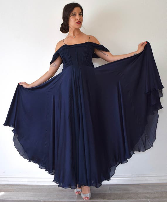 Vintage 30s Inspired Blue Black Flowing Silk Off the Shoulder Evening Gown with Sequined Accents (size medium)