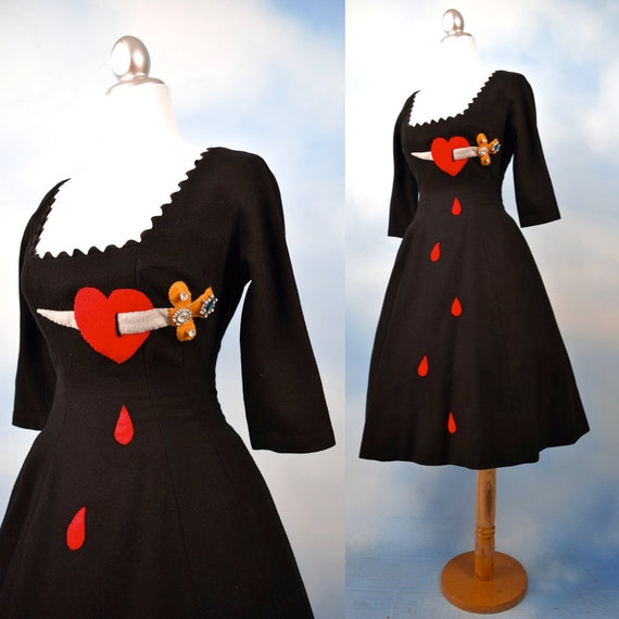 Vintage 50s 60s Dagger Through the Heart Hand Embellished Black Wool Button Back New Look Dress (size xxs, xs)