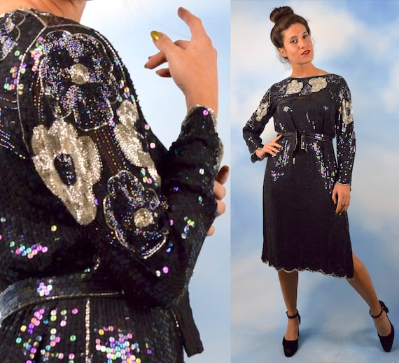 Vintage 80s 90s STUNNING Art Deco Inspired Swee Lo Heavily Beaded and Sequined Black and Silver Belted Sheath Dress (size small, medium)