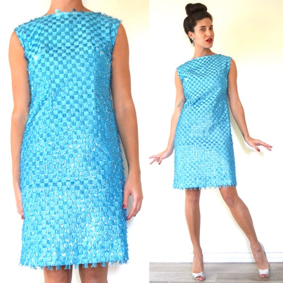 Vintage 60s Turquoise Checkered Tinsel Shift Dress (size small)