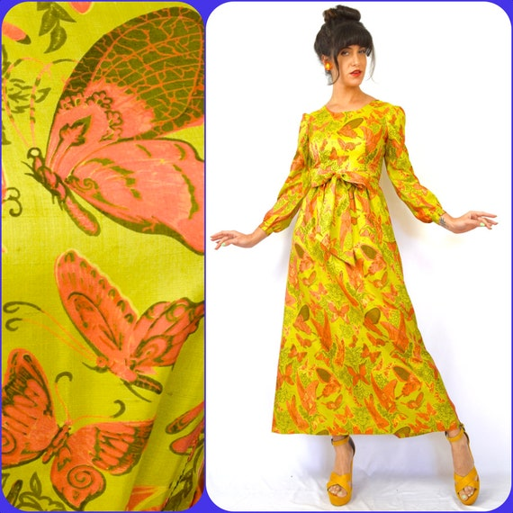 Vintage 60s 70s Butterfly Garden Silk A Line Long Sleeved Maxi Dress (size xs, small)
