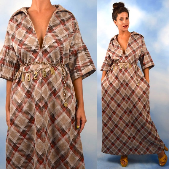 Vintage 70s Metallic Autumnal Plaid A Line Maxi Dress (size large, xl)
