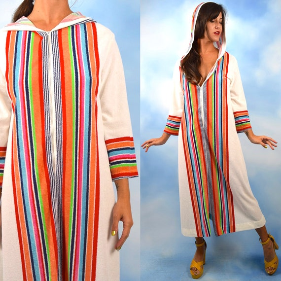 Vintage 70s Rainbow Striped Terry Cloth Hooded Zip Up Lounge Dress