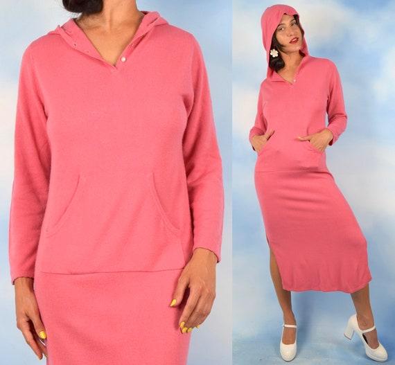 Vintage 90s Carnation Pink Hooded Sweater Midi Dress (size xs, small, medium)