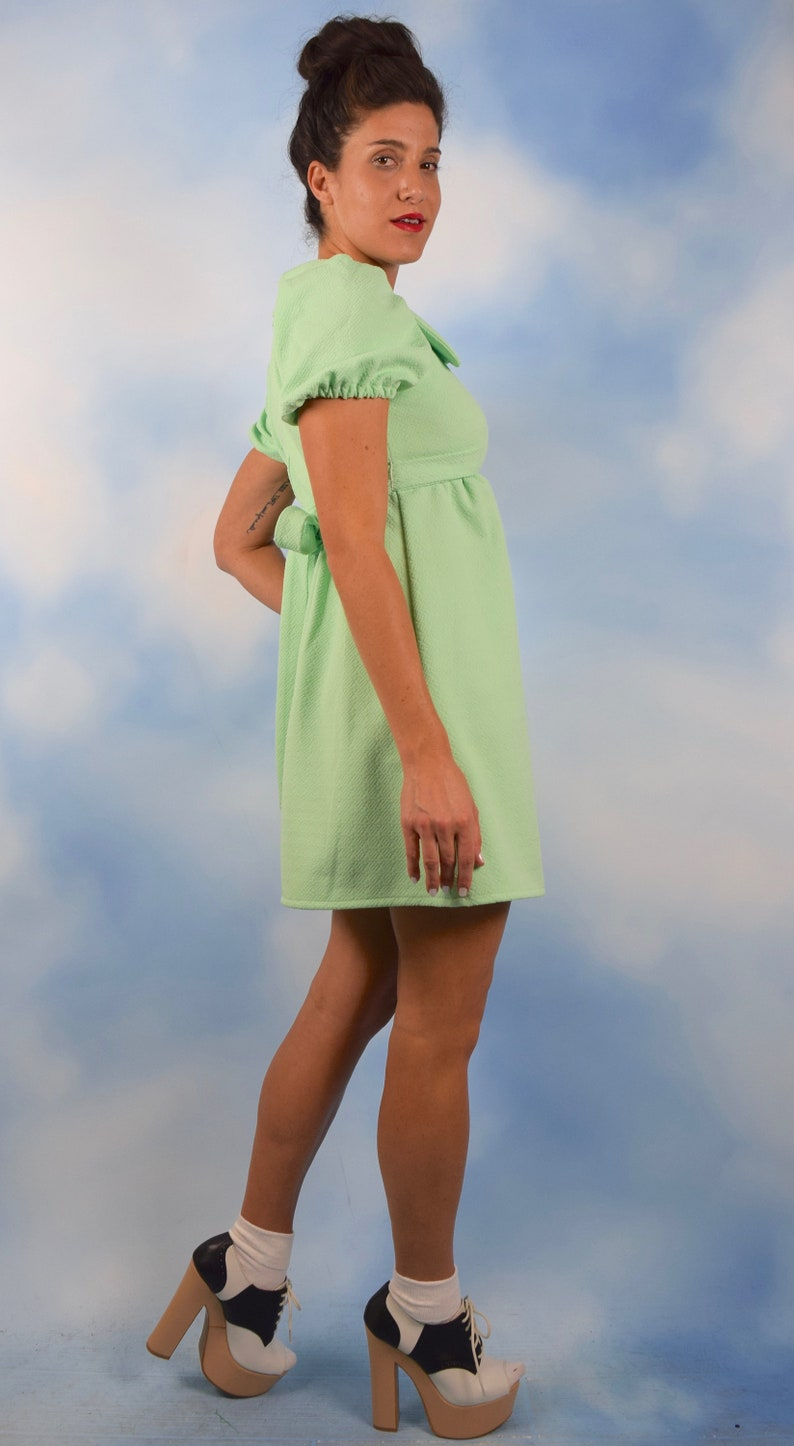 5ec932e8d5abe Vintage 60s 70s Mint Green Empire Waist Puffed Sleeve Baby   Etsy