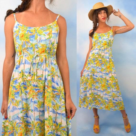 Vintage 90s Jams World Palm Tree Print Midi Dress (size medium, large)