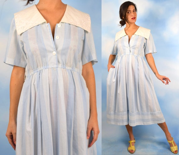 Vintage 90s does 50s Powder Blue Striped Shirt Waist Dress with Sailor Collar (size medium, large)