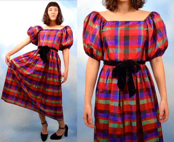 Vintage 80s does 50s Plaid Silk Puffed Sleeve Party Dress (size small, medium)