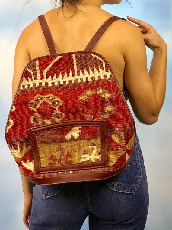 Vintage 70s Kilim Woven Backpack