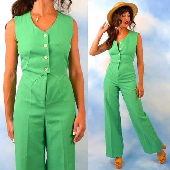 Vintage 70s Kelly Green Button Front Jumpsuit (size xs, small)