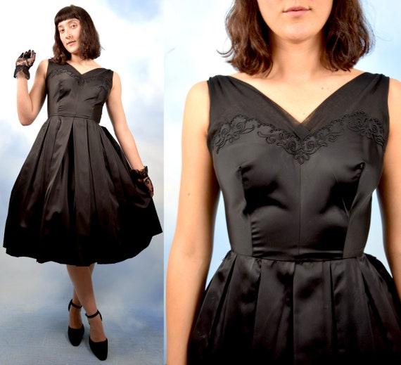 Vintage 50s 60s Jet Black Liquid Satin Pleated Full Skirt New Look Party Dress (size xs, small)