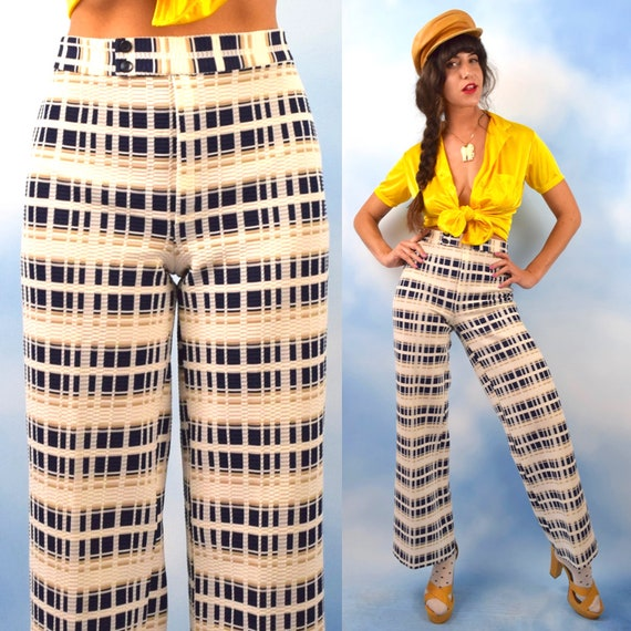 Vintage 60s 70s High Waisted Navy Blue Taupe and White Plaid High Waisted Straight Legged Trousers (size medium)