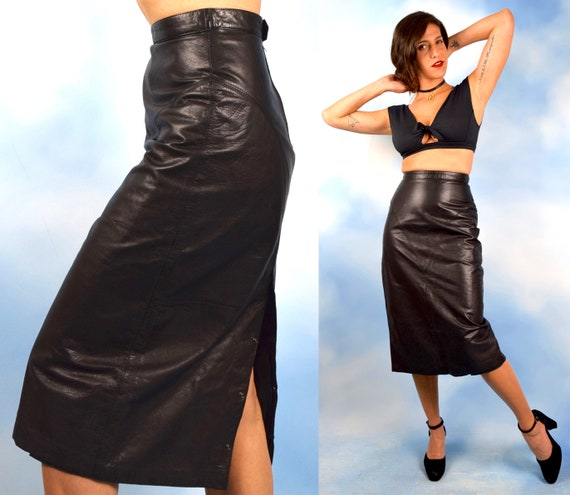 Vintage 80s does 50s High Waisted Black Leather Bad Girl Pencil Skirt (size small, medium)