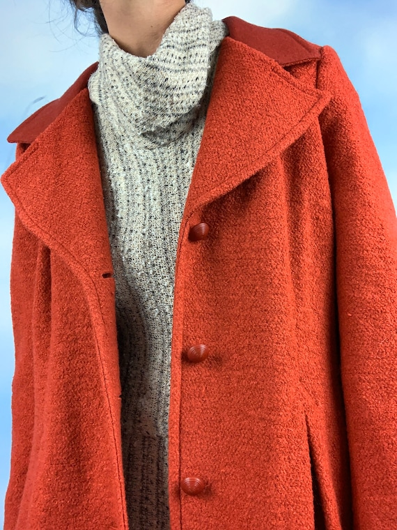 Vintage 60s 70s Red Boucle Wool Blend Princess Co… - image 6