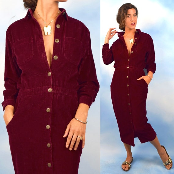 Vintage 90s Cranberry Corduroy Button Front Pencil Dress (size small, medium)