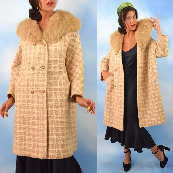 Vintage 60s Oatmeal and Vanilla Tweed Wool Coat with Fox Fur Collar